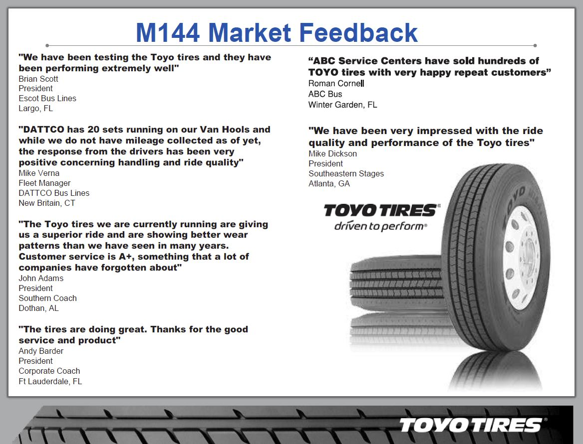 Toyo Motor Coach Tires Available at Motor Coach Tire Sales in Columbus, GA 31901