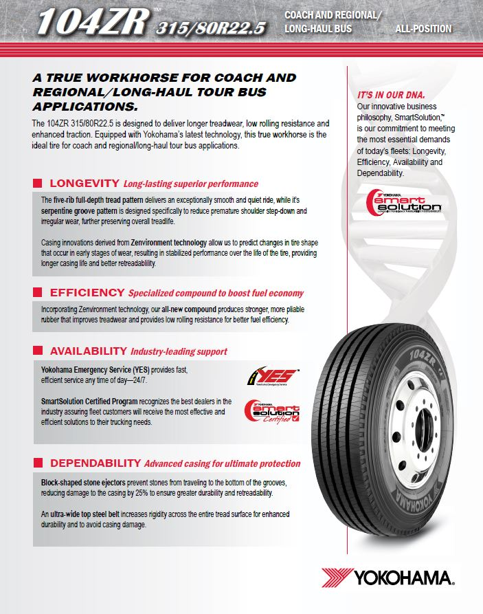Yokohama Tires Available at Motor Coach Tire Sales in Columbus, GA 31901